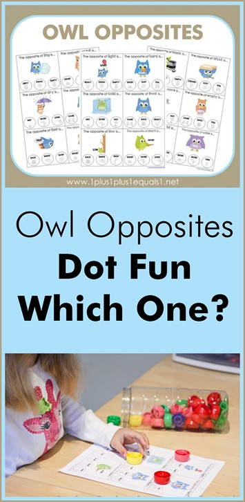 Owl Opposites Dot Fun Which One