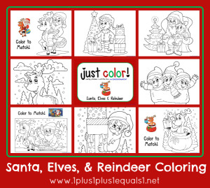 Christmas Coloring ...Santa Elves and Reindeer