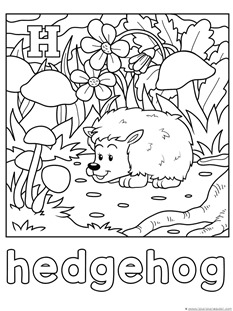 H for hedghog coloring page