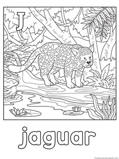 J for jaguar coloring page