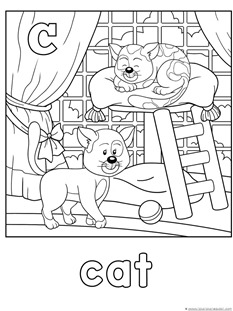 C for cat coloring page