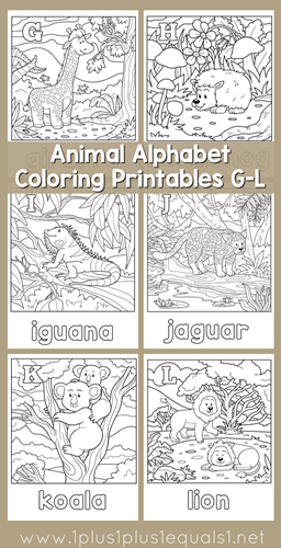 Animal Alphabet Coloring Printables G through L[4]