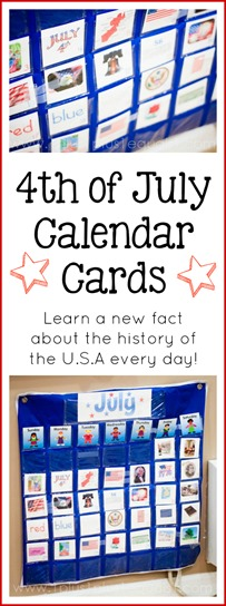 Free 4th of July Calendar Connections Cards ~ learn a new fact about the U.S.A every day