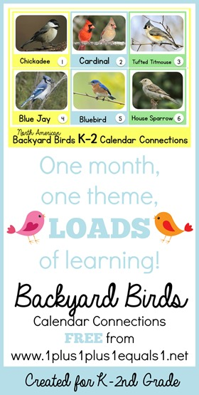 North American Backyard Birds Calendar Connections for K-2nd Grade