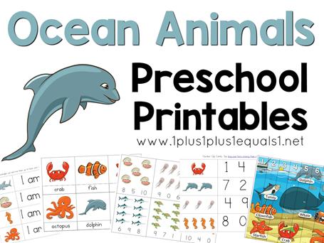Ocean Animals Preschool Printables FB