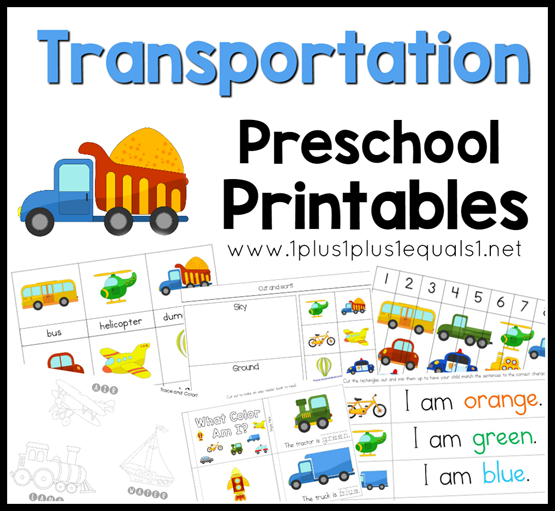 Transportation Preschool Printables F