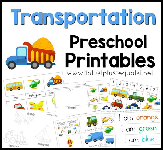 Transportation Preschool Pack 1 1 1 1