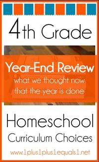 4th Grade Homeschool Curriculum Year End Review