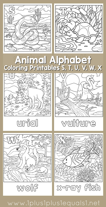 Animal Alphabet Coloring Printables S through X