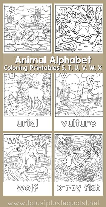 Animal Alphabet Coloring Printables S through X