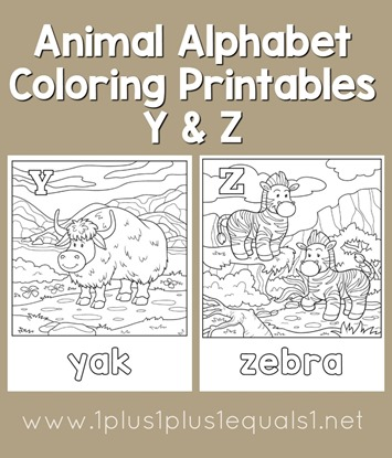 Animal Alphabet Coloring Printables Y and Z - 1+1+1=1