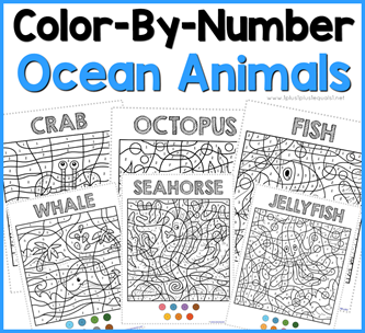 Color By Number Ocean Animals F