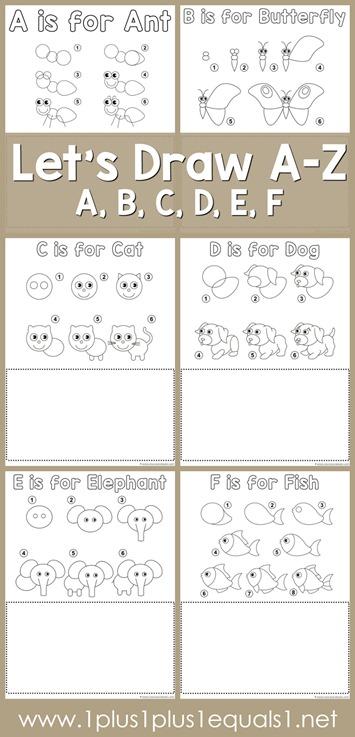 Let's Draw Printables - Letter A, B, C, D, E, F