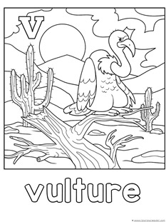 V is for Vulture Coloring