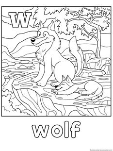 W is for Wolf Coloring