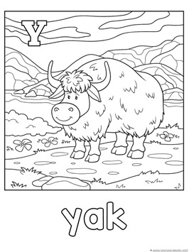 Y for Yak Coloring