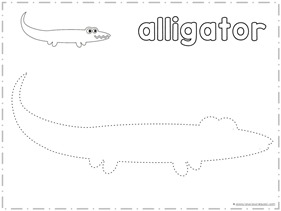 Finish the Picture Trace and Draw an Alligator