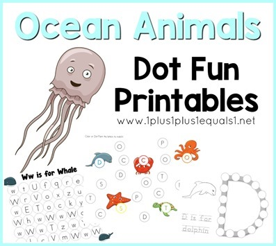 Ocean Animals Dot Fun Printables FB