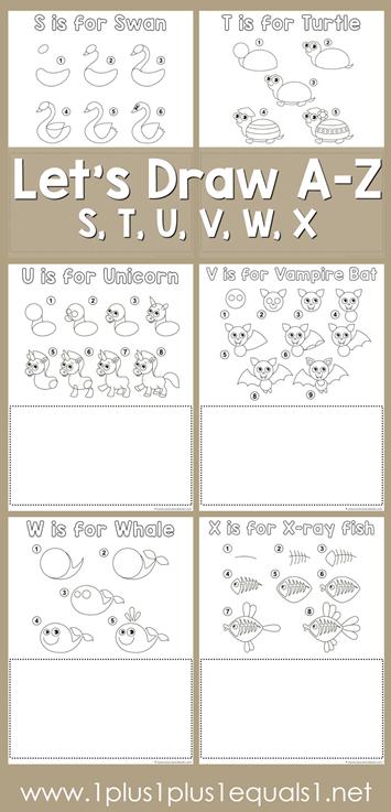 Let's Draw Printables - S, T, U, V, W, X