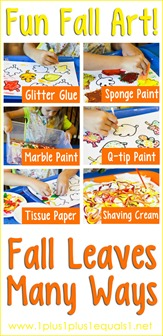 Fun Fall Art ~ Fall leaves Many Ways