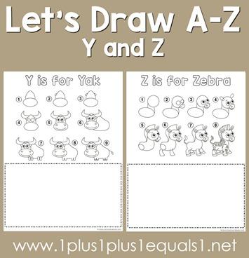 Let's Draw Printables - Y, Z