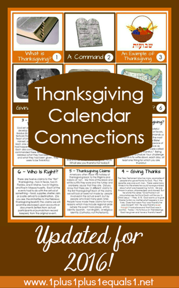Thanksgiving Calendar Connections 2016 through 2018