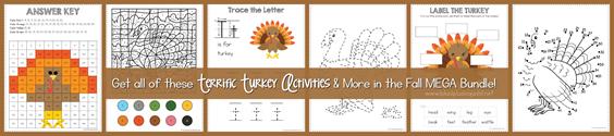 Turkey Activities in Fall Mega Bundle