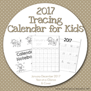 2017 Tracing Calendar for Kids