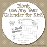 Blank Calendar for Kids Use Any Year
