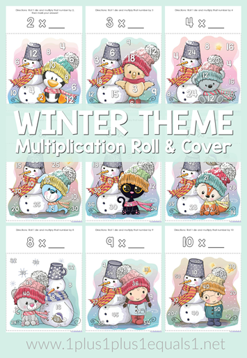 Winter Theme Multiplication Roll and Cover Printable Games