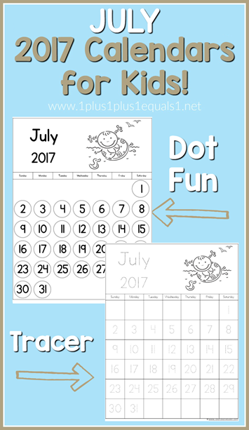 2017 Calendars for Kids July