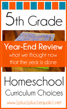 5th Grade Homeschool Curriculum Year End Wrap Up
