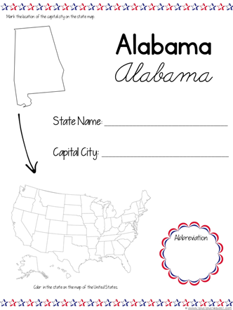 USA State by State Printables