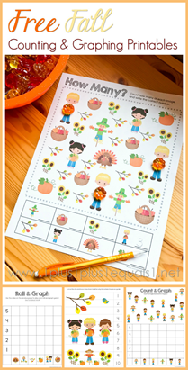 Free Fall Counting and Graphing Printables
