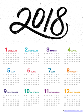 2018 Year at a glance printable calendar (3)
