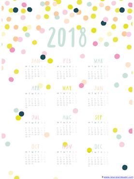 2018 Year at a glance printable calendar (5)