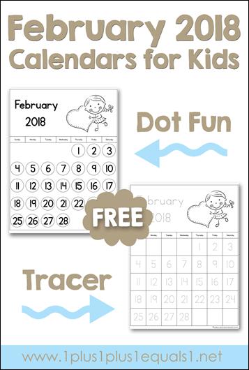 February Printable Calendars for Kids
