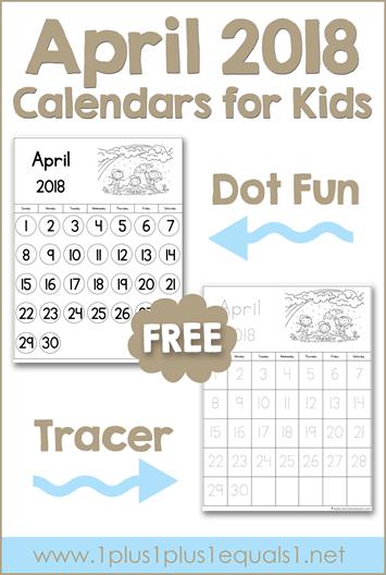 April Printable Calendars for Kids