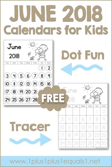 June Printable Calendars for Kids