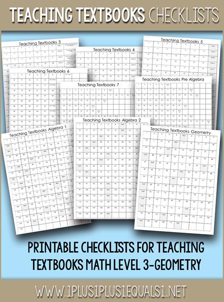 Teaching Textbooks Math Checklists P