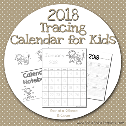 2018 Tracing Calendar for Kids