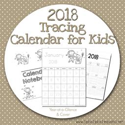 2018 Tracing Calendar for Kids