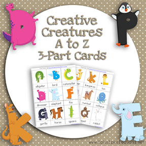 Creative Creatures A to Z 3 Part Cards TN