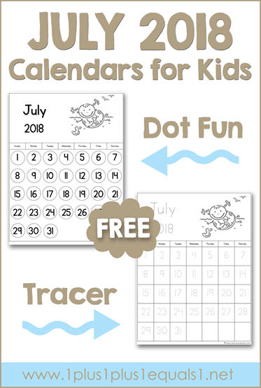 July Printable Calendars for Kids
