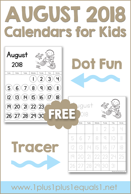 August Printable Calendars for Kids