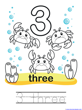 Ocean Animals Counting 0 through 10 Coloring Pages (5)