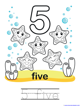 Ocean Animals Counting 0 through 10 Coloring Pages (7)