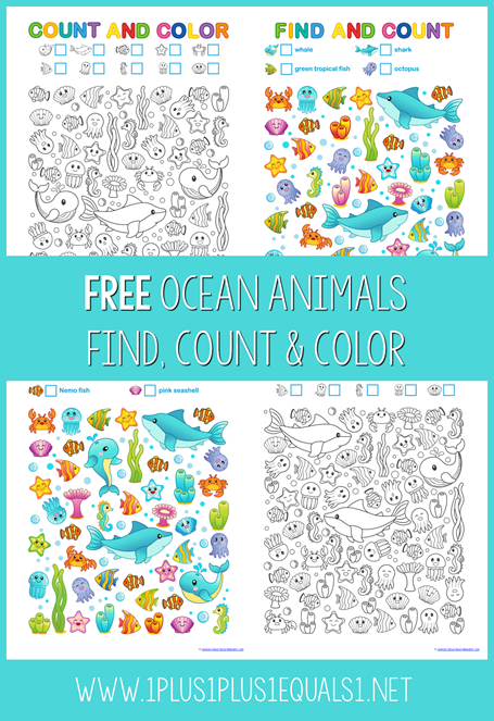 Ocean Animals Find Count and Color Printables