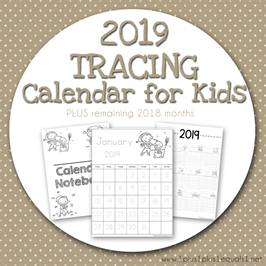 2019 Tracing Calendar for Kids