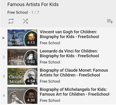FreeSchool Famous Artist Playlist